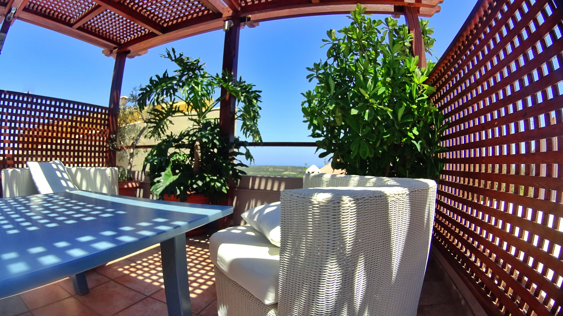 The lounging deck on the roof garden offers 360o panoramic views