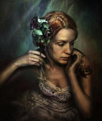 Girl with flower tatoo