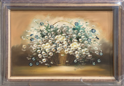 Flowers in Basket - Canvas