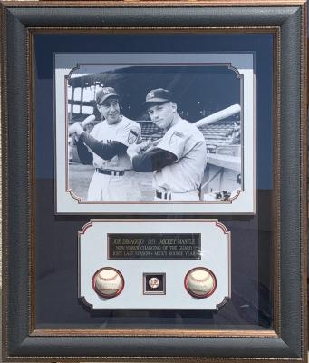 DiMaggio & Mantle Baseball Shadowbox Collage