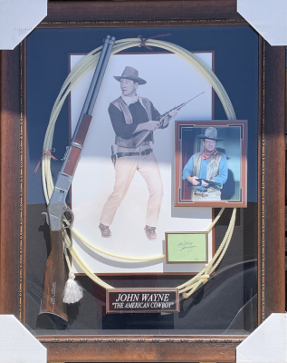 John Wayne Shadowbox Collage with Rifle