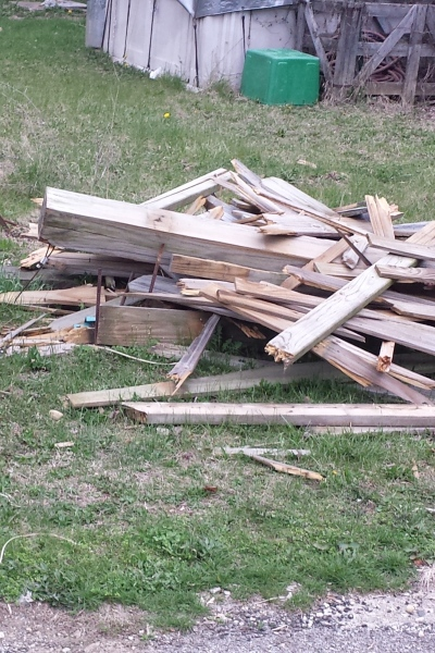 destroyed fence to be salvaged