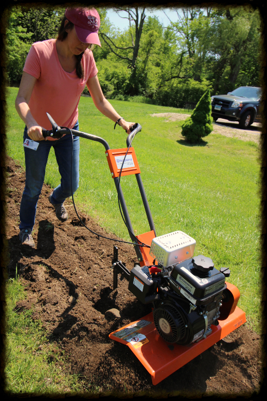 Trying out the new rototiller!