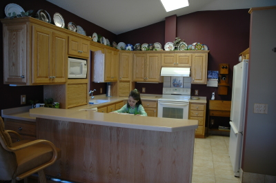 Natural red oak kitchen