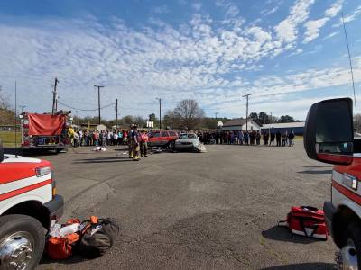 100 Proof team presents mock crash for area students