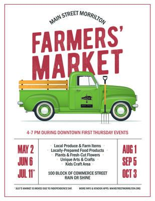 First Thursday this week; Farmers Market coming in May