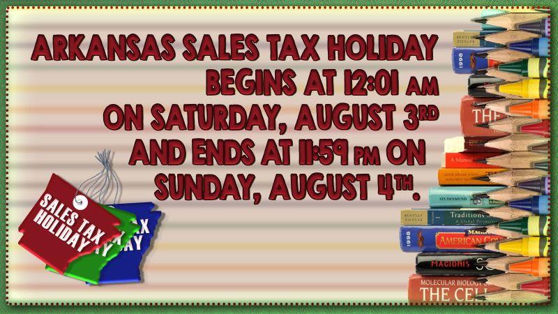 Arkansas Sales Tax Holiday this weekend
