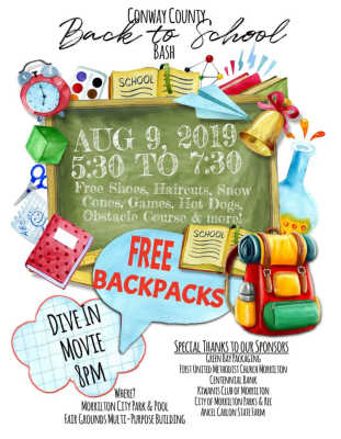 Conway County to hold Back to School Bash
