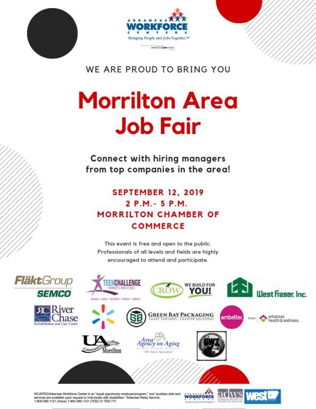 Morrilton Area Job Fair set for September 12th