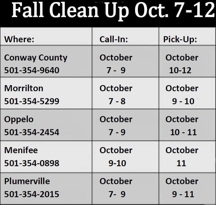 Conway County's fall clean-up underway