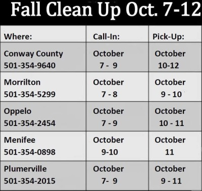 Fall clean-up continues in Conway County