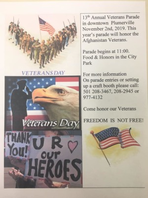 13th Annual Veterans Parade in Plumerville set for November 2nd