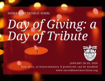 Sacred Heart celebrating Catholic Schools Week, Day of Giving