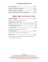 Formosa Seafood, Vegetables, and Tofu Menu