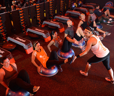Orange Theory Asheville group workout on yoga balls