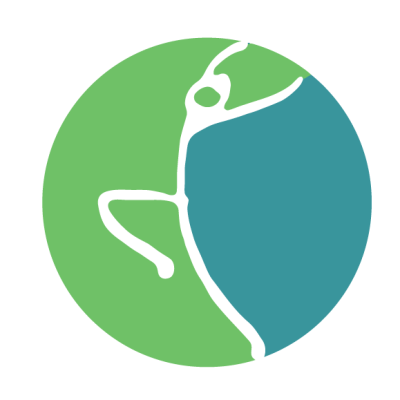 Happy Body Fitness and Wellness logo blue and green circle with stick figure doing yoga
