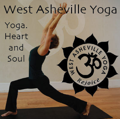 West Asheville Yoga logo woman in all black doing yoga