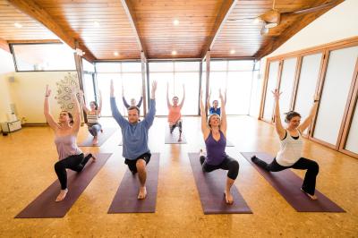 yoga class holding a pose