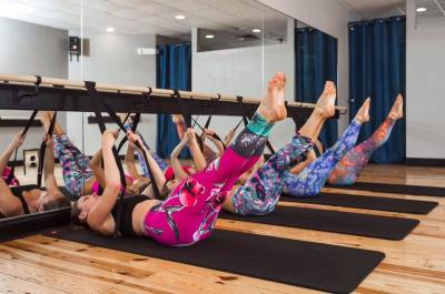 Asheville gyms women doing barre fitness