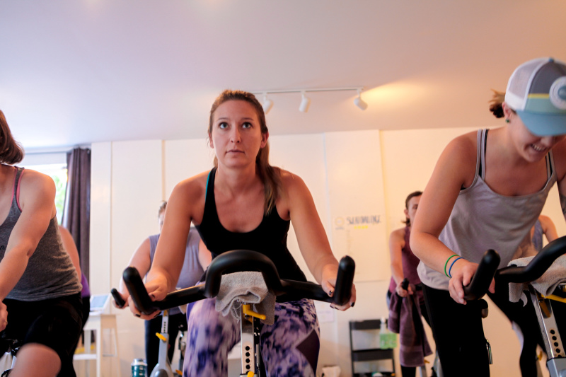 women at spin class