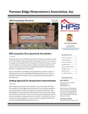 HPS Community Chronical Page Cover