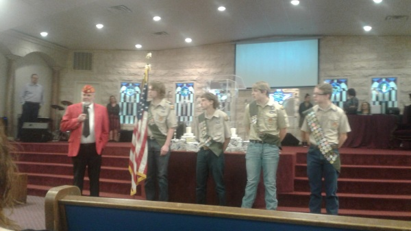 Kenneth Rains with Eagle Scouts