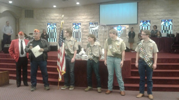 Kenneth Rains and Chris Borel with Eagle Scouts