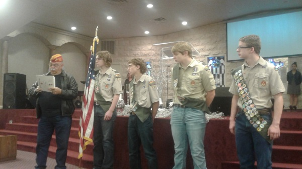 Chris Borel with Eagle Scouts