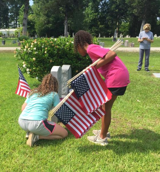 Brookeland ISD Kids Posting Flags