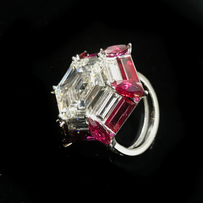 Ruby Diamond Hexagonal Ring