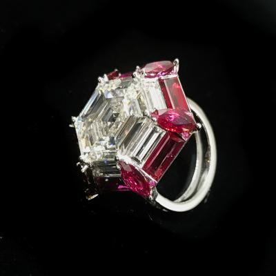 Ruby Diamond Hexagonal Ring