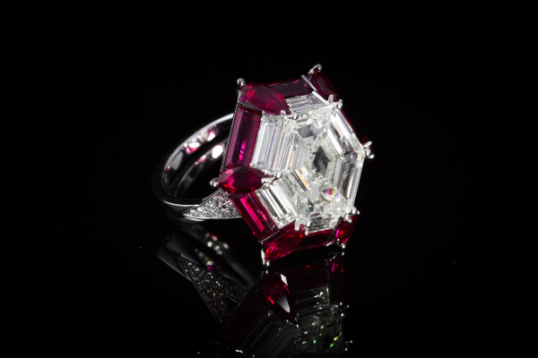 Diamond and Ruby Hex Ring