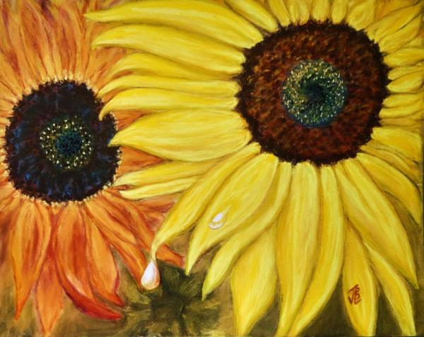Reflecting Sunflowers - 20 x 24 inches, framed