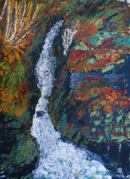Cascade & Fall - 18 x 22 inches, framed