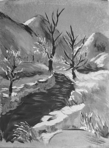 Winter's Stream - 9 x 12 inches, approx, original