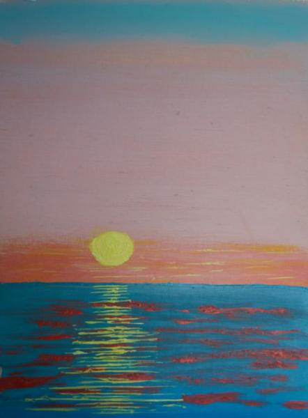 Watery Sunset - 9 x 12 inches, approx, original