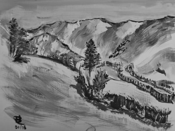Mountain Shadows - 9 x 12 inches, approx, original