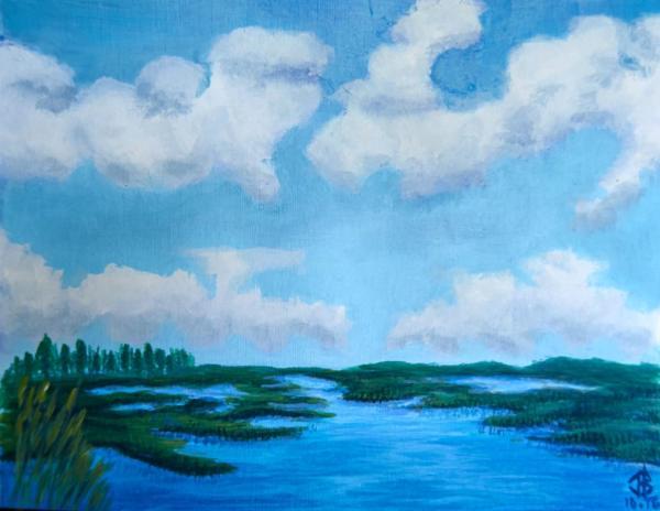 Blue Lagoon - 9 x 12 inches, approx, original