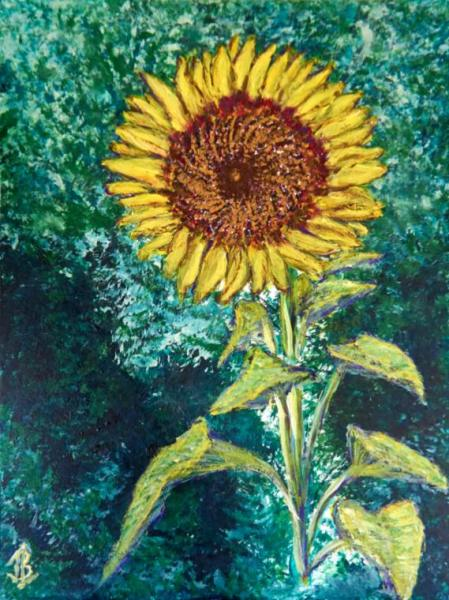 Standing Sunflower - 12 x 15 inches, approx, original
