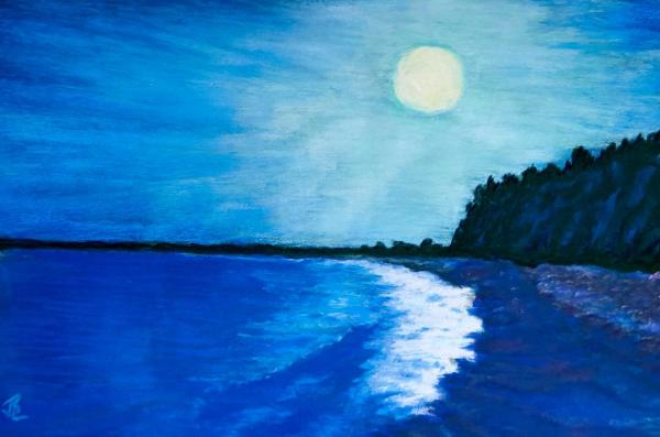Moonlit Surf - 11 x 16 inches, approx, original