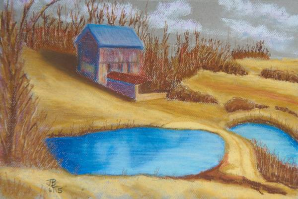 Blue-Roofed Barn - 11 x 15 inches, approx, original