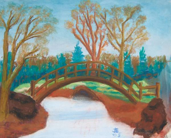 Chinese Footbridge - 10 x 12 inches, approx, original