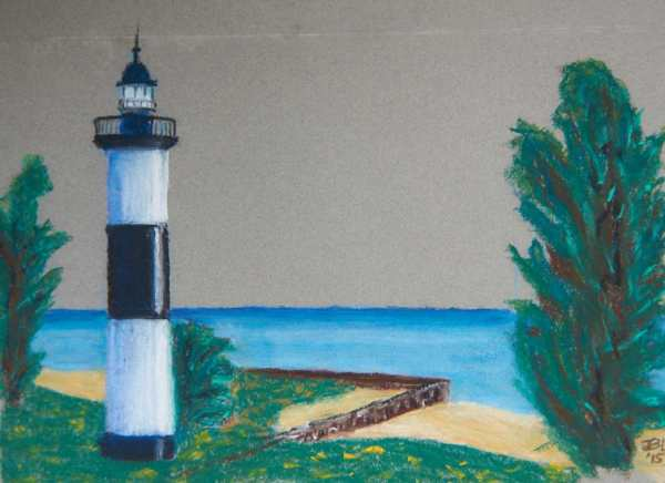 Lone Light House - 12 x 14 inches, approx, original