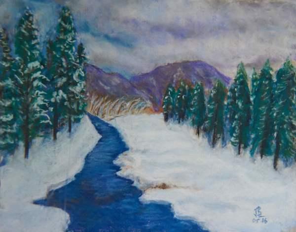 Stream thru the Snow - 10 x 12 inches, approx, original