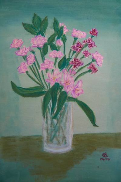 Vase of Pink Carnations - 10 x 15 inches, approx, original