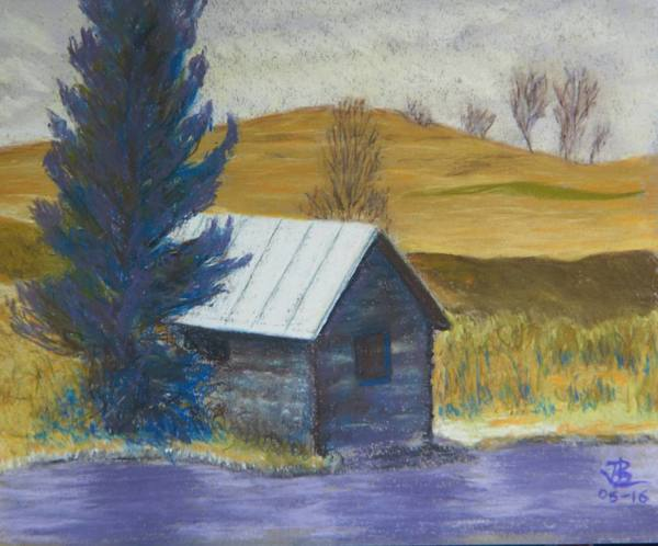 The  Fishing Hut - 12 x 13 inches, approx, original
