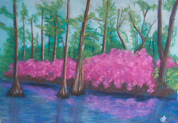 Azaleas in the Swamp - 13 x 17 inches, approx, original