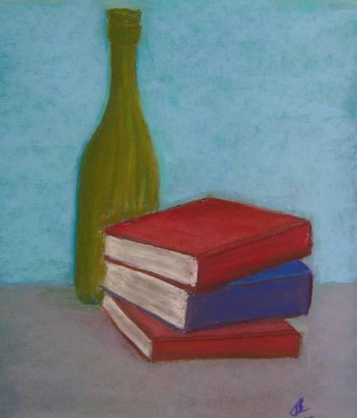Three Good Books & a Sip - 9 x 13 inches, approx, original