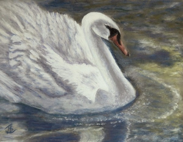 Swan in Green - 19½ x 23½ inches, framed