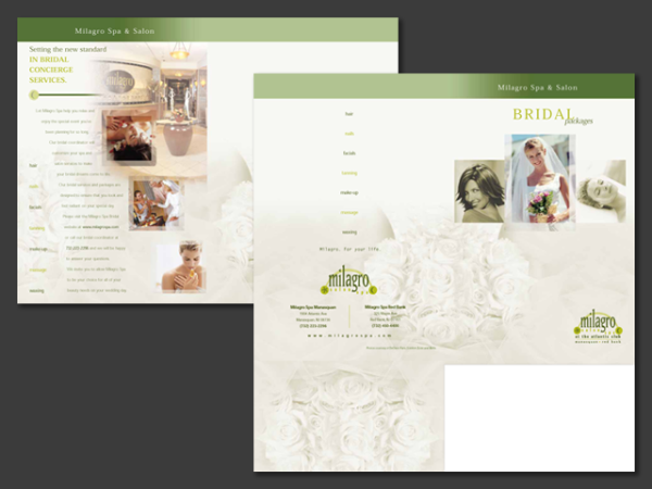Milagro Spa Bridal Shower Brochure • Manasquan, NJ